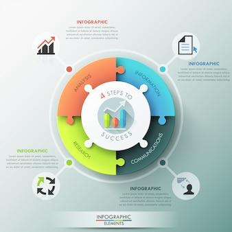 Opciones de infografía moderna rompecabezas gráfico