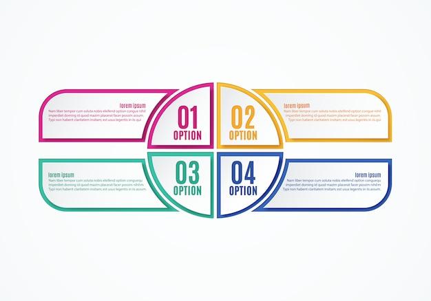 Opciones de infografías coloridas, cuatro pasos.
