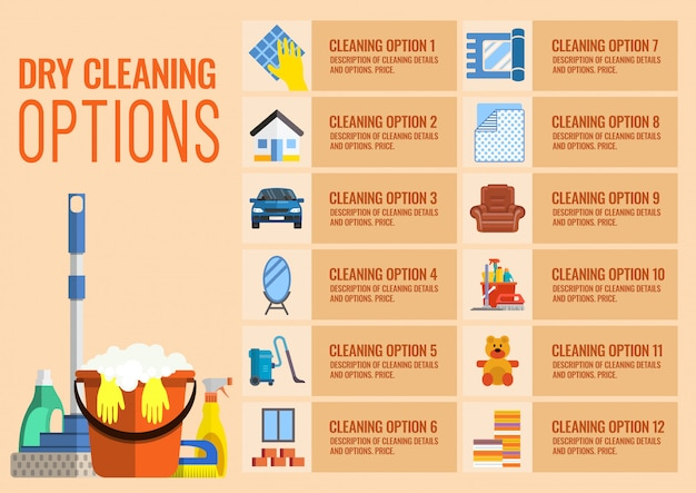 Opciones de limpieza en seco