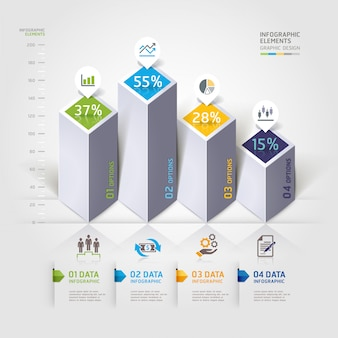 Opciones modernas de infografía 3d.