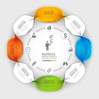 Opciones modernas de infografías de espiral empresarial
