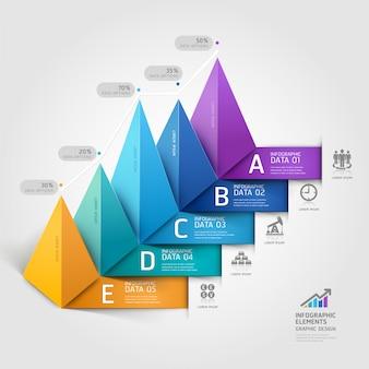 Opciones modernas del steb del diagrama de la escalera del triángulo del negocio 3d.
