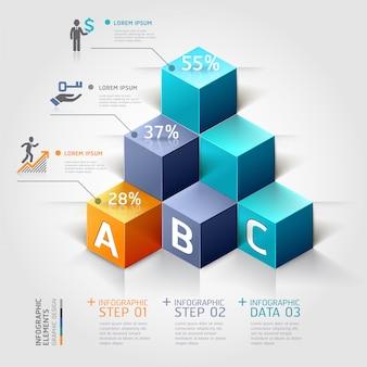 Opciones modernas del steb del negocio del diagrama de la escalera 3d.