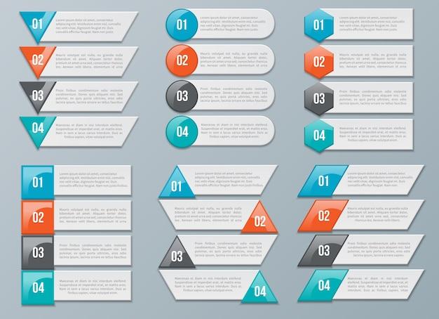 Opciones numéricas para infografías. información de datos numerados, gráfico. ilustración vectorial