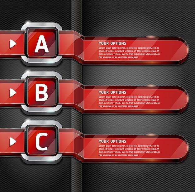 Opciones de número de estilo del sitio web de botones rojos banner y tarjeta de fondo.