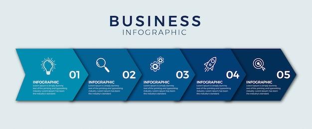 Opciones o pasos de iconos de diseño de infografía empresarial