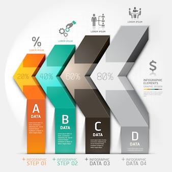 Opciones del paso del negocio del diagrama de la escalera de la flecha 3d.