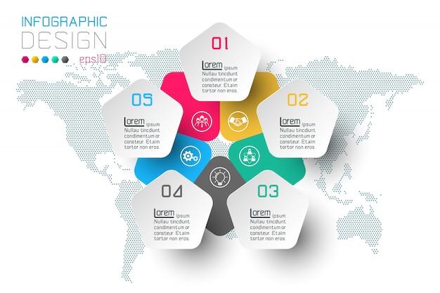Opciones de paso de negocios e infografía abstracta.