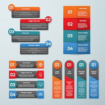 Las opciones paso a paso vector plantillas de infografía. conjunto de pestañas de información y banners de presentación.