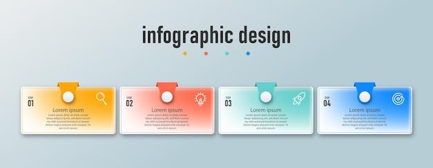 Las opciones de los pasos de la línea de tiempo de la plantilla de diseño infográfico del elemento se pueden utilizar para el flujo de trabajo transparente