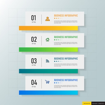 Opciones de plantilla 4 infografías modernas.