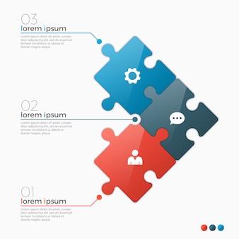 Opciones de plantilla de infografía con secciones de rompecabezas