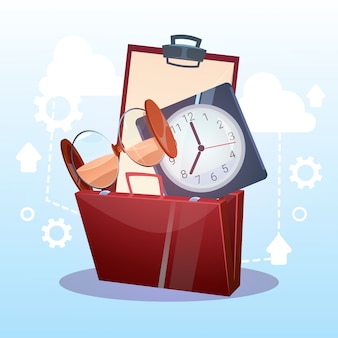 Open briefcase watch time business deadline concept