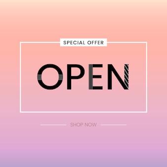 Open sign oferta especial vector
