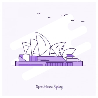 Opera house landmark purple dotted line skyline vector illustration