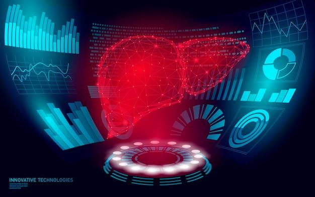 Operación de cirugía de láser de hígado humano de baja poli 3d hud ui display. tecnología futura medicina poligonal enfermedad tratamiento de drogas. azul abstracto medicina farmacia hepatitis cáncer ilustración