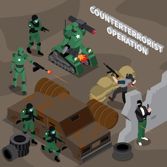 Operación contraterrorista composición isométrica