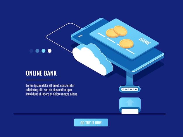 Operaciones con dinero en línea, teléfono móvil con tarjeta de crédito y monedas, almacenamiento en la nube.
