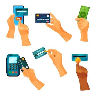 Operaciones con dinero. mano haciendo pagos móviles y usando banca en línea