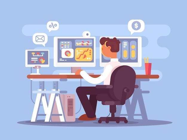 Operador de bolsa se sienta en un sillón y observa las fluctuaciones del mercado de gráficos