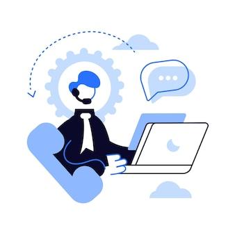 Operador del centro de llamadas con un auricular en la computadora dentro del equipo.
