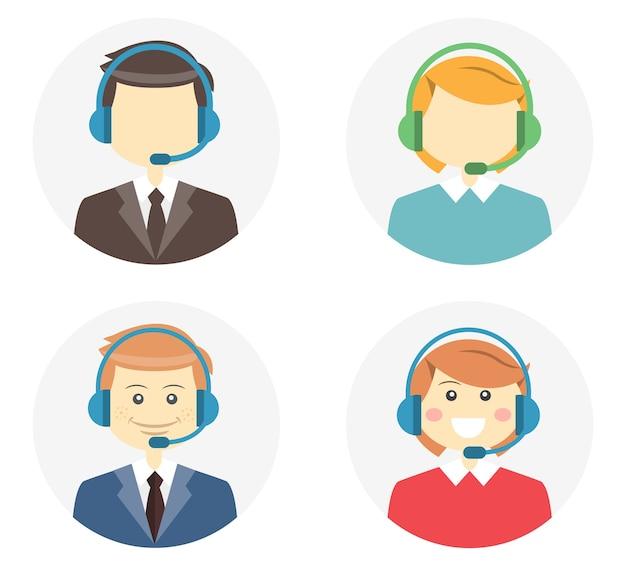Operador de centro de llamadas con un hombre y una mujer sonrientes y amigables con auriculares y una segunda variación en la que no tienen rasgos o no tienen rostro en la ilustración de vector de botones web redondos