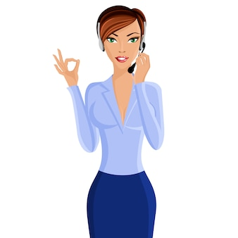 Operador de centro de llamadas de mujer joven