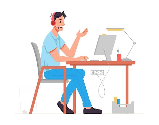 Operador de centro de llamadas o especialista en servicio de asistencia técnica o línea directa hablando con el cliente usando auriculares