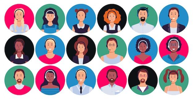 Operador de centro de llamadas. retrato de trabajador de atención al cliente, contacto de línea directa de avatar redondo y conjunto de persona de apoyo