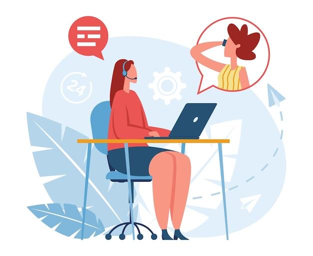 Operador de línea directa trabajador del centro de llamadas en auriculares hablando con el cliente servicio al cliente en línea vector