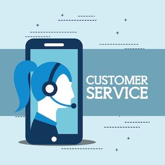 Operador, mujer, teléfono inteligente, con, auriculares, servicio al cliente