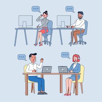 Operadores de centros de llamadas en el trabajo