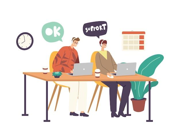 Los operadores de la línea directa ayudan a los clientes en línea. caracteres de recepcionistas de centro de llamadas masculinos y femeninos amables sonrientes con auriculares que trabajan en la línea directa de soporte de clientes. ilustración de vector de gente de dibujos animados