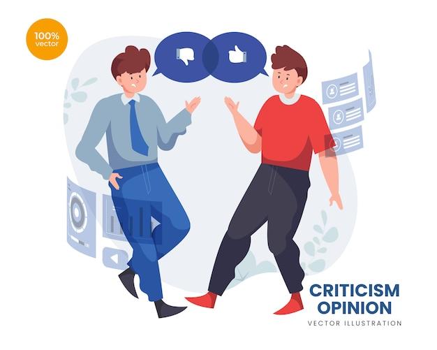 Opinión de la crítica con dos personas en equipo con puntos de vista diferentes