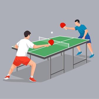 Oponentes jugando tenis de mesa