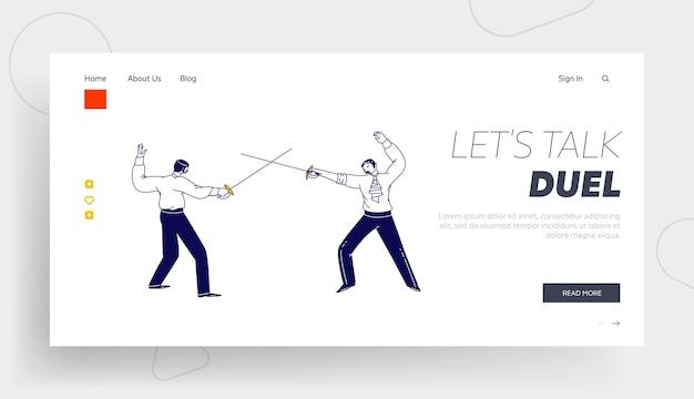 Oponentes que luchan en la plantilla de la página de aterrizaje de swords. personajes masculinos con vestido de aristócrata esgrima