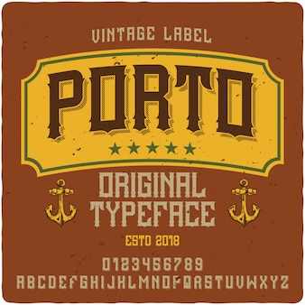 Oporto etiqueta tipografía