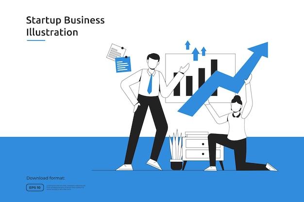 Oportunidad de inicio, empresa de inversión, asesor financiero, lanzamiento de negocios, franquicias, concepto de tutoría. página de destino web de diseño plano de metáfora de éxito o sitio web móvil