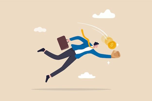 Oportunidad de inversión, captura de acciones en oferta o fondos mutuos, obtención de ganancias o concepto de ganancias, empresario salta para atrapar monedas de oro con un guante de béisbol.