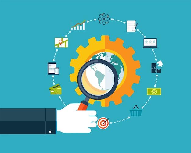 Optimización de motores de búsqueda, mano con lupa alrededor de iconos de negocios.