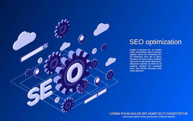 Optimización de seo, búsqueda de información, análisis de datos ilustración de concepto isométrico plano