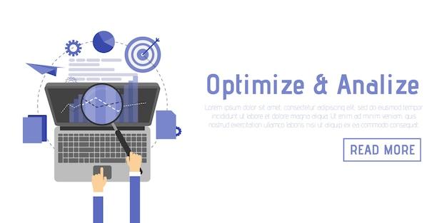 Optimización seo, proceso de programación y elementos de análisis web en diseño plano.