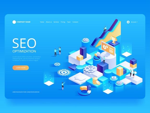 Optimización seo para sitio web y sitio web móvil. plantilla de página de destino.