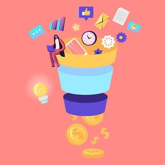 Optimización de la tasa de conversión, ilustración de embudo de marketing