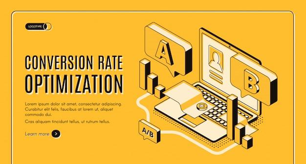 Optimización de la tasa de conversión en línea servicio isométrico vector web banner