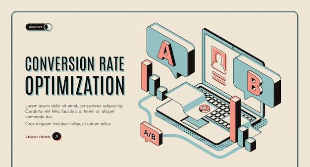 Optimización de la tasa de conversión web isométrica banner.