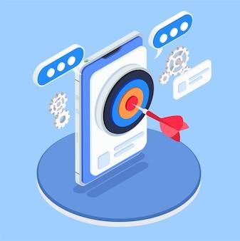 Optimización de la tienda de aplicaciones composición 3d con objetivo isométrico con flecha en la pantalla del teléfono inteligente