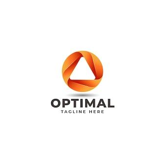 Óptimo: logotipo de la letra o con dirección hacia arriba en el espacio negativo