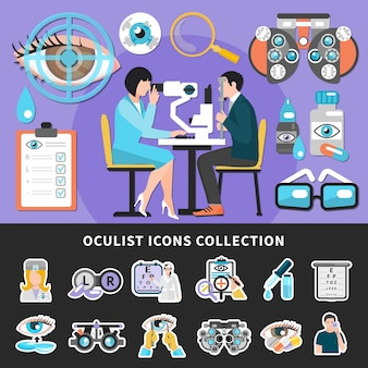 Optometrista examen ocular 2 coloridos carteles del centro de oftalmología con prueba de la vista y colección de iconos de oculista ilustraciones vectoriales