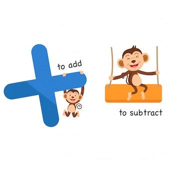 Opuesto a sumar y restar ilustración vectorial.